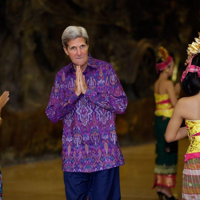 US Secretary of State John Kerry, wearing an