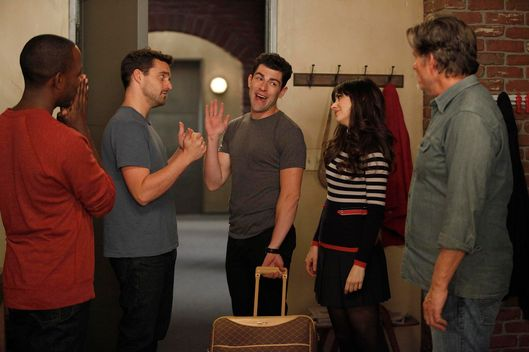 "L-R:  Winston (Lamorne Morris), Nick (Jake Johnson), Schmidt (Max Greenfield) and Jess (Zooey Deschanel) have a secret they are keeping from their landlord (guest star Jeff Kober, R) in the ""Landlord"" episode of NEW GIRL, airing Tuesday, Feb. 7."