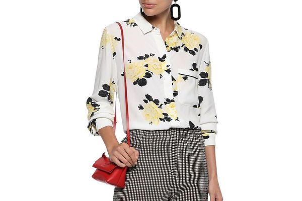 Ganni Silvery Floral-Print Crepe Shirt