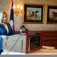 Wyoming Senate candidate Liz Cheney addresses reporters at a news conference in the Little America Hotel and Resort in Cheyenne, Wyoming on July 17, 2013. Cheney, the daughter of former Vice President Dick Cheney, will run against longtime incumbent Sen. Mike Enzi (R-WY). Cheney launched her campaign yesterday following Enzi's announcement that he will run for a fourth term.