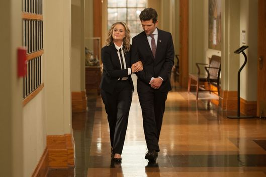 "PARKS AND RECREATION -- ""One Last Ride"" Episode 712/713 -- Pictured: (l-r) Amy Poehler as Leslie Knope, Adam Scott as Ben Wyatt -- (Photo by: Colleen Hayes/NBC)"