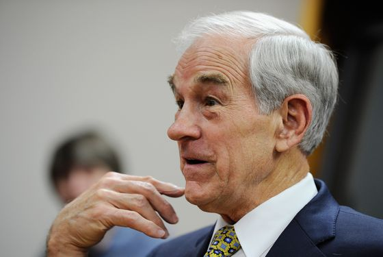 BOONE, IA - DECEMBER 08:  Republican presidential candidate Rep. Ron Paul (R-TX) speaks at a town hall meeting at the Erickson Public Library during a campaign stop on December 8, 2011 in Boone, Iowa.  Paul was campaigning in the state one month before the Iowa caucuses and three days before the GOP presidential debate.  (Photo by Kevork Djansezian/Getty Images)