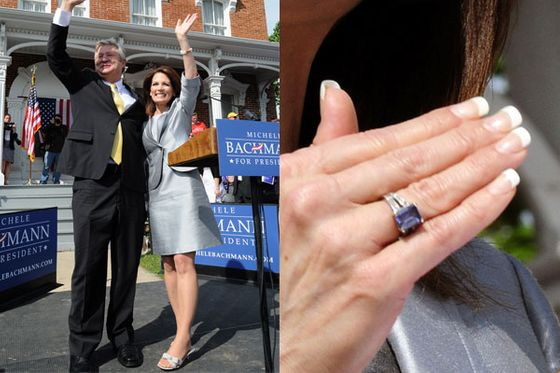 "Bachmann's French tips were in full force when she announced her presidential candidacy in Waterloo, Iowa, the hometown of her youth. (<a href=""http://www.huffingtonpost.com/2011/06/27/michele-bachmann-john-wayne_n_885368.html"">And source of at least one awkward gaffe.</a>) She is photographed here with husband Marcus, who, <a href=""http://articles.chicagotribune.com/2006-11-29/features/0611290056_1_dress-election-night-high-heels"">she told the <i>Star Tribune</i></a>, does much of her shopping: ""Before Vice President Dick Cheney's visit this past summer, Bachmann's husband, Marcus, hit the stores—'he's got a good sense of style'—and came home with 'a sleek, simple hourglass dress with a yoke collar in winter white.' He even bought a matching coat and shoes."" Marcus also <a href=""http://nymag.com/daily/intelligencer/2012/01/bachmanns-husband-busy-buying-doggy-sunglasses.html"">shopped for doggie sunglasses</a> during Michele's campaign. Don't worry, <a href=""http://www.mediaite.com/online/marcus-bachmann-cool-with-being-called-silver-fox-just-as-long-as-that-doesnt-mean-gay/"">Marcus knows what you're thinking about him</a>, but seems to have a sense of humor about it. He maintains that his faith-based therapy clinic does not push <a href=""http://www.thenation.com/article/161883/michele-bachmann-husband-ex-gay-therapy#"">gay conversion therapy</a>."