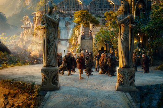 "(L-r) PETER HAMBLETON as Gloin, DEAN O'GORMAN as Fili, JOHN CALLEN as Oin, KEN STOTT as Balin, MARTIN FREEMAN as Bilbo Baggins, JAMES NESBITT as Bofur, AIDAN TURNER as Kili, STEPHEN HUNTER as Bombur, WILLIAM KIRCHER as Bifur, JED BROPHY as Nori and MARK HADLOW as Dori in the fantasy adventure ""THE HOBBIT: AN UNEXPECTED JOURNEY,"" a production of New Line Cinema and Metro-Goldwyn-Mayer Pictures (MGM), released by Warner Bros. Pictures and MGM."