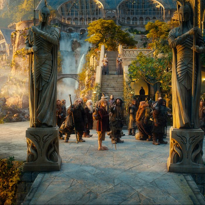 """(L-r) PETER HAMBLETON as Gloin, DEAN O'GORMAN as Fili, JOHN CALLEN as Oin, KEN STOTT as Balin, MARTIN FREEMAN as Bilbo Baggins, JAMES NESBITT as Bofur, AIDAN TURNER as Kili, STEPHEN HUNTER as Bombur, WILLIAM KIRCHER as Bifur, JED BROPHY as Nori and MARK HADLOW as Dori in the fantasy adventure """"THE HOBBIT: AN UNEXPECTED JOURNEY,"""" a production of New Line Cinema and Metro-Goldwyn-Mayer Pictures (MGM), released by Warner Bros. Pictures and MGM."""