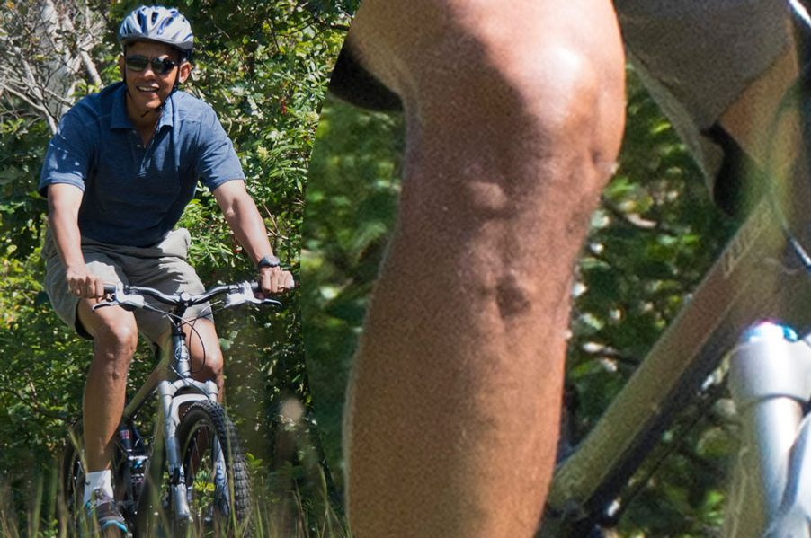 US President Barack Obama bike rides through the Manuel F. Correllus State Forest in West Tisbury, Massachusetts, August 16, 2013, during the Obama family vacation to Martha's Vineyard.    AFP PHOTO/Jim WATSON        (Photo credit should read JIM WATSON/AFP/Getty Images)