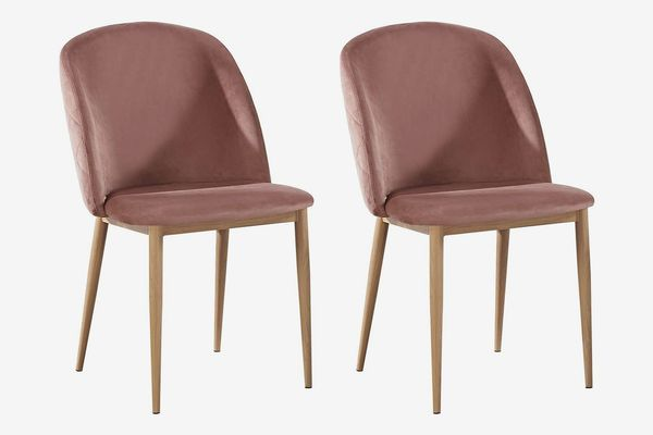 Set of 2 Velvet Dining Chairs With Wood Effect Metal Legs