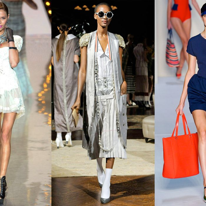 From left: spring looks from Betsey Johnson, Thom Browne, and Marc by Marc Jacobs.