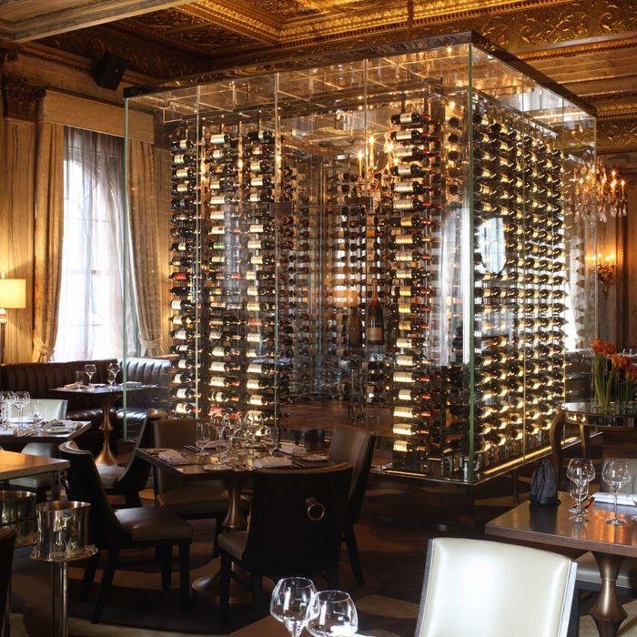 Yep, a glass wine cube's the centerpiece.