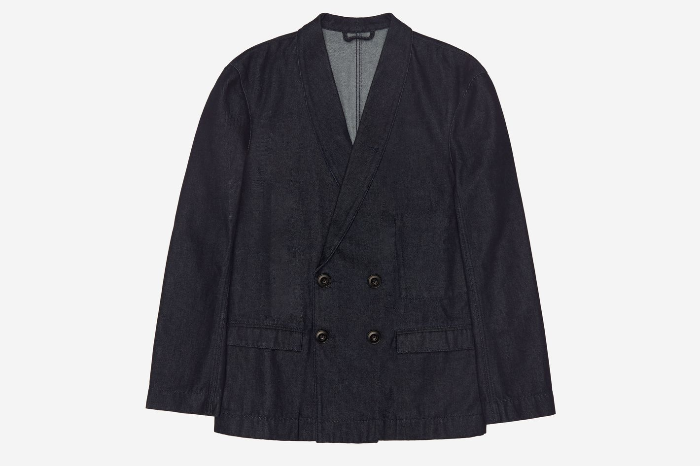 Lemaire SSENSE Exclusive Navy Denim Double-Breasted Jacket