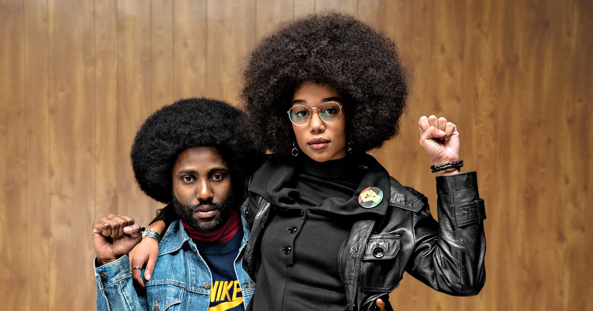 "Alt=""John David Washington and Laura Harrier in 'BlacKkKlansman'."""