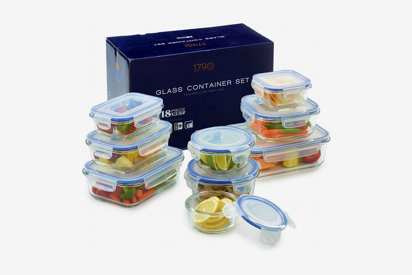 1790 18-Piece Glass Food Storage Container Set
