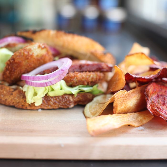The BLT That Will Tickle Your Pickle, with fried, pickled green tomatoes on sourdough potato bread.