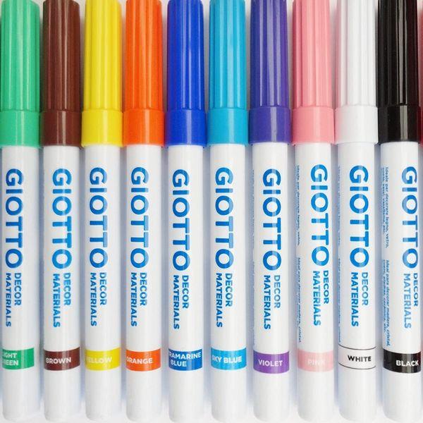 12 x Giotto Decor Materials Marker Pens