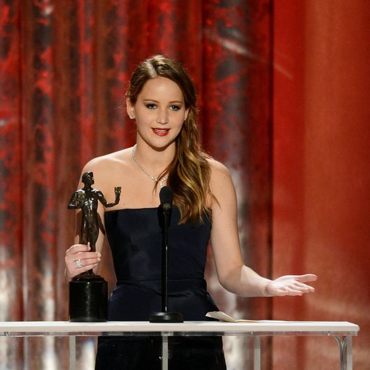 Actress Jennifer Lawrence accepts the award for Outstanding Performance by a Female Actor in a Leading Role for 'Silver Linings Playbook' onstage during the 19th Annual Screen Actors Guild Awards held at The Shrine Auditorium on January 27, 2013 in Los Angeles, California.