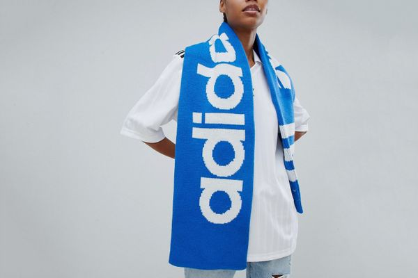 Adidas Originals Trefoil Logo Scarf In Blue