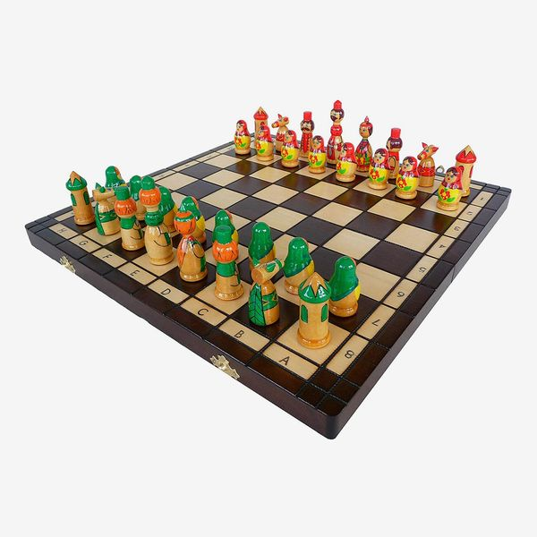 Amazinggirl Wooden Chess Set Board with Russian Dolls