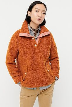 J. Crew Snap Collar Sweatshirt in Polartec Fleece