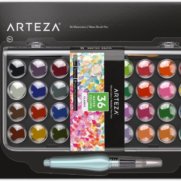 Arteza Classic Travel Watercolor Paint Set with Water Brush Pen
