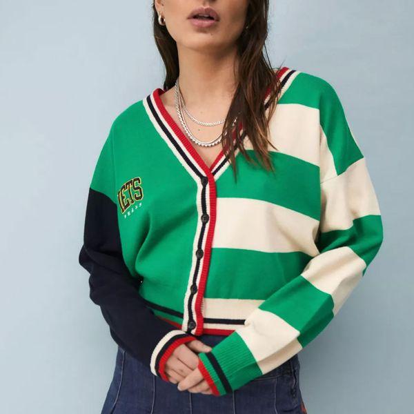 iets frans... Varsity Stripe Cardigan