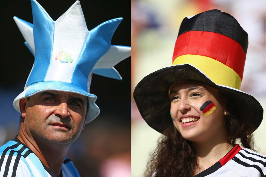 In this composite image a comparison has been made between Argentina and Germany Fans. Germany and Argentina play each other in the 2014 FIFA World Cup Brazil Final on July 13, 2014 in the Maracana Stadium in Rio De Janeiro,Brazil.