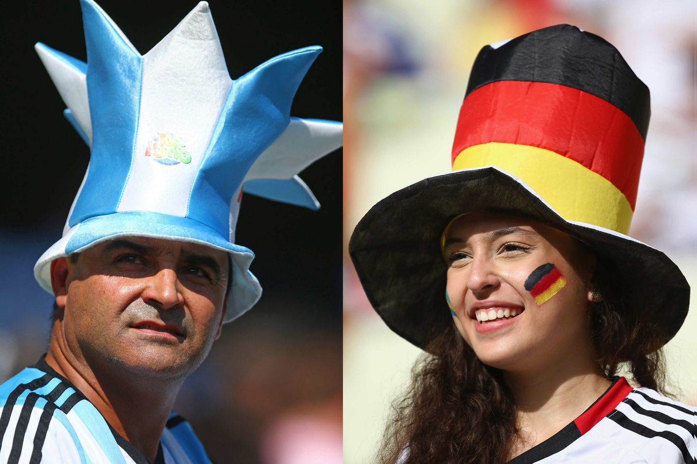 In this composite image a comparison has been made between Argentina and Germany Fans.