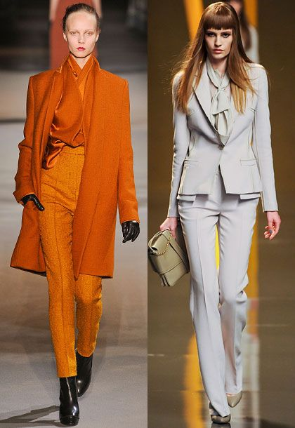 """Power dressing continued to reign in Paris. You saw a very bold, confident woman, from YSL and Givenchy to Céline and Lanvin. The look is the lawyer girl who went out the night before; she's not a wallflower. It was really quite directional. We saw more of the slim silhouette this week.""  <b>Must-have</b>: Haider Ackermann slim pant (left)."