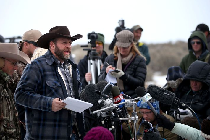 Ammon Bundy, realizing PETA has arrived with vegan jerky.