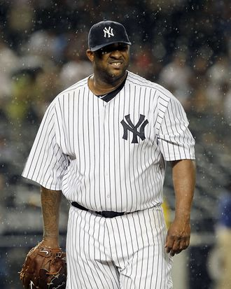 NEW YORK, NY - JULY 26: CC Sabathia #52 of the New York Yankees walks off the field after the seventh inning against the Seattle Mariners on July 26, 2011 at Yankee Stadium in the Bronx borough of New York City. (Photo by Jim McIsaac/Getty Images)