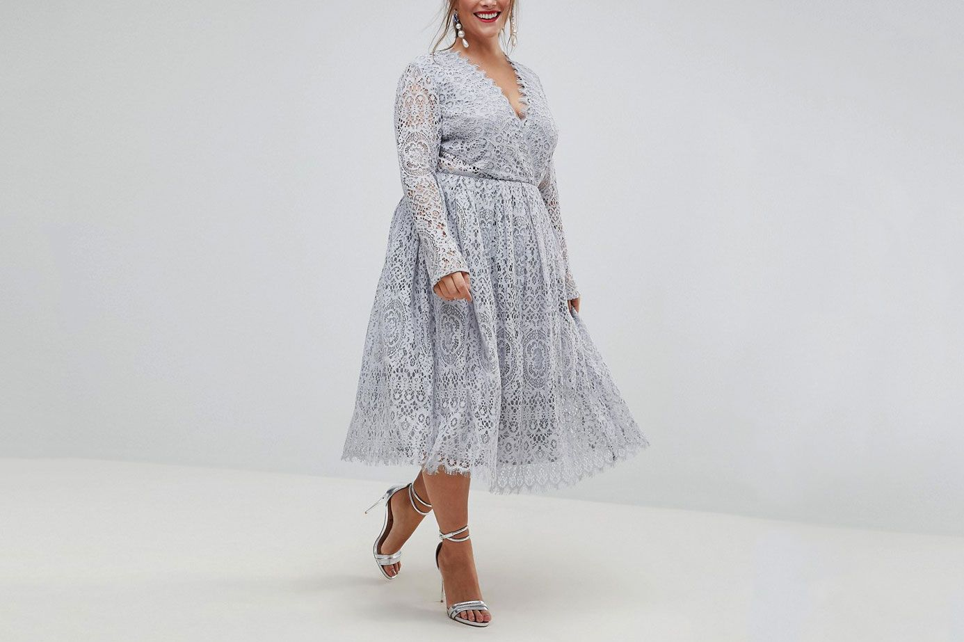 8373eac6136b ASOS CURVE Long Sleeve Lace Midi Prom Dress