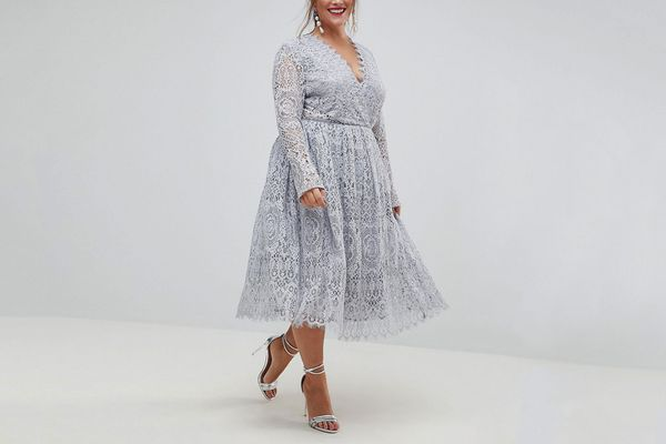 ASOS CURVE Long Sleeve Lace Midi Prom Dress