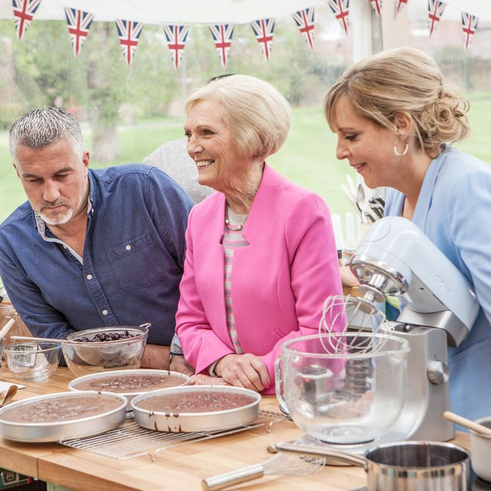 WARNING: Embargoed for publication until: 28/07/2015 - Programme Name: The Great British Bake Off - TX: n/a - Episode: n/a (No. 1) - Picture Shows: +++Publication of this image is strictly embargoed until 00.01 hours Tuesday July 28th 2015+++ Paul Hollywood, Mary Berry, Mel Giedroyc - (C) Love Productions - Photographer: Mark Bourdillon