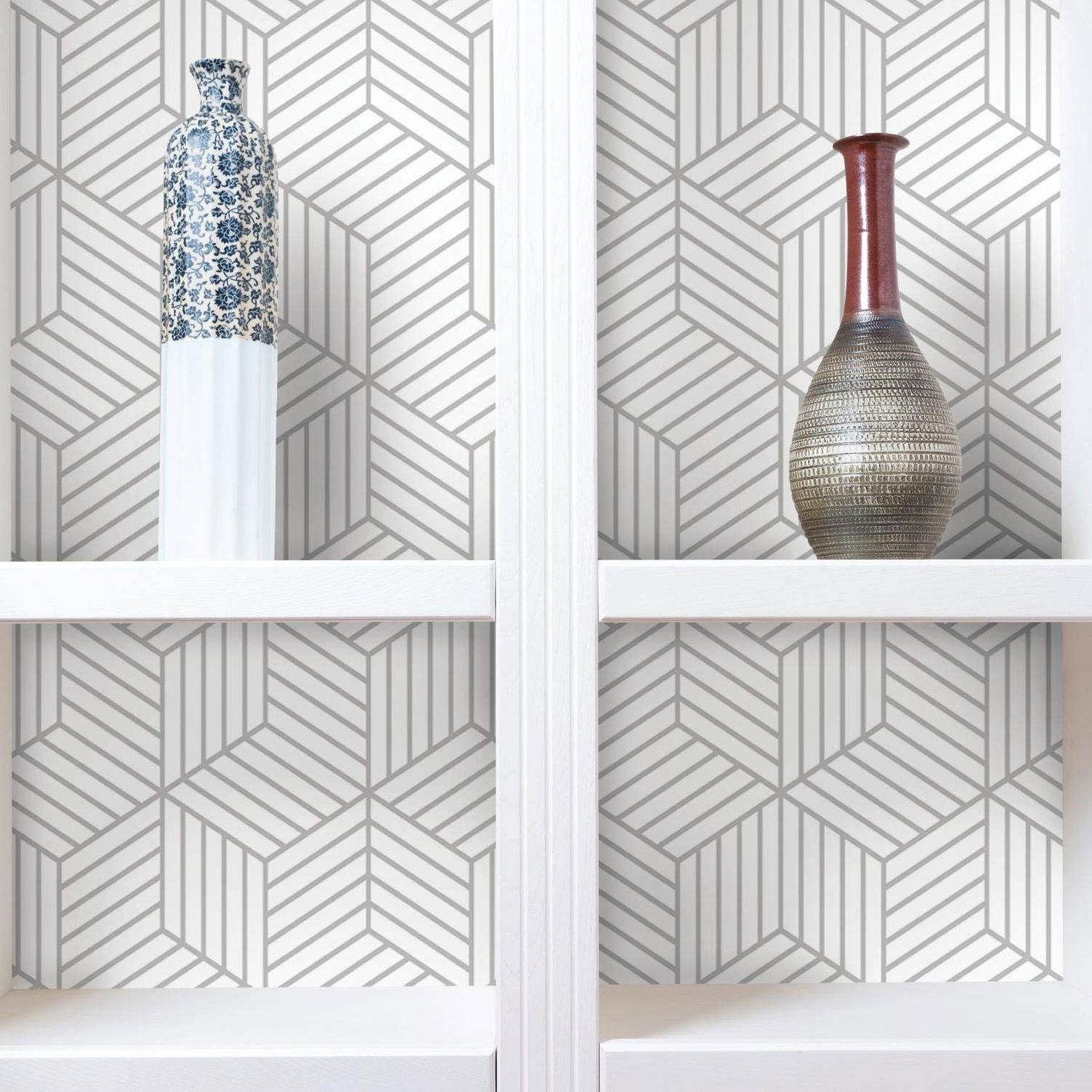 RoomMates Stripped Hexagon Repositionable and Removable Peel and Stick Wallpaper