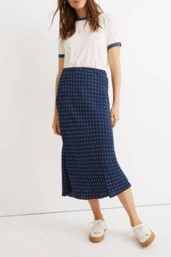 Madewell Midi Slip Skirt in Polka Dot