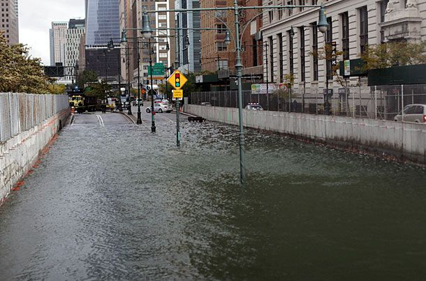 NEW YORK, NY - OCTOBER 30: The Brooklyn Battery Tunnel is flooded after a tidal surge caused by Hurricane Sandy, on October 30, 2012 in Manhattan, New York. The storm has claimed at least 33 lives in the United States, and has caused massive flooding across much of the Atlantic seaboard. US President Barack Obama has declared the situation a 'major disaster' for large areas of the US East Coast including New York City, with wide spread power outages and significant flooding in parts of the city. (Photo by Allison Joyce/Getty Images)