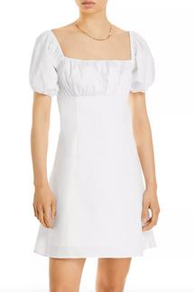 Aqua Puff Sleeve Mini Dress