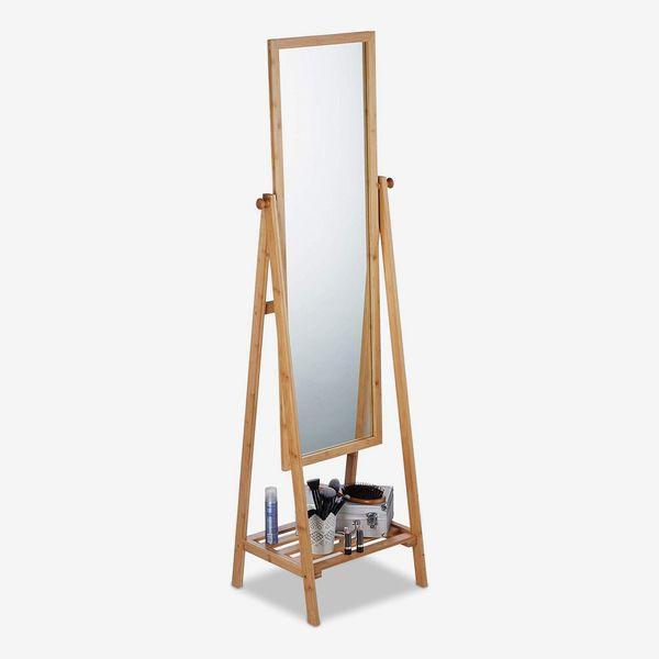 Relaxdays Bamboo Free-Standing Mirror