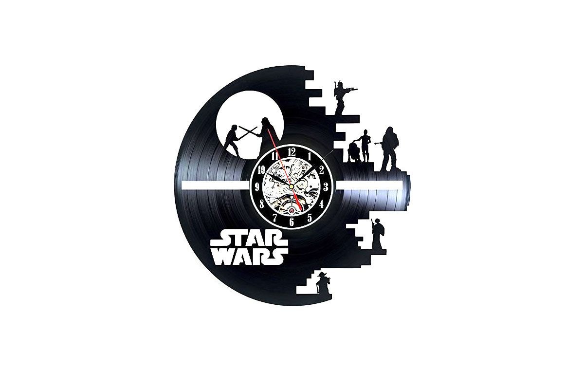 Star Wars Death Star Darth Vader Princess Leia Master Yoda Movie Character Vinyl Record Design Wall Clock