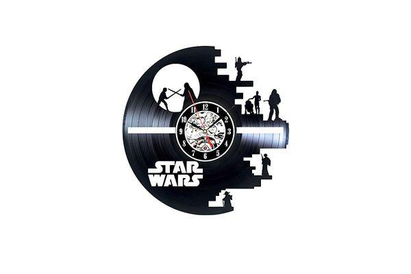Star Wars Death Star Darth Vader Princess Leia Master Yoda Movie Character Vinyl Record Design Wall Clock