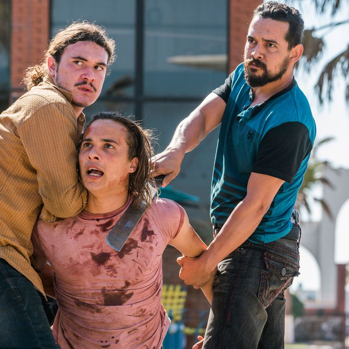 Frank Dillane as Nick Clark, Alejandro Edda as Marco Rodriguez, Sean Rosales as Marco's Thug #1 - Fear the Walking Dead _ Season 2, Episode 9 - Photo Credit: Richard Foreman/AMC