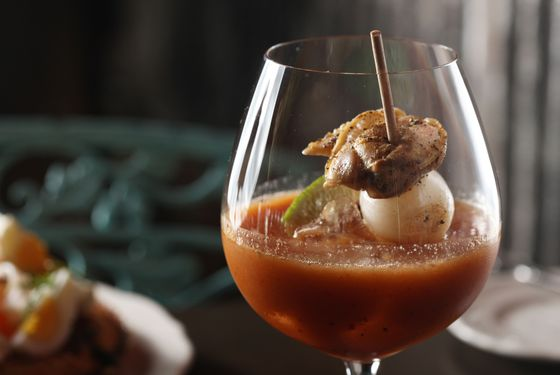 Bloody Mary: mezcal, kimchi, tomato, top-neck clams.