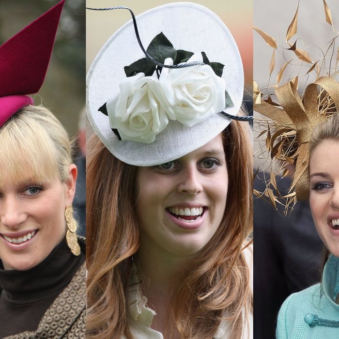 Zara Phillips, Princess Beatrice, and Laura Parker Bowles all in Philip Treacy's creations.