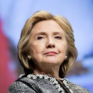 Former Secretary of State Hillary Clinton waits to speak at the World Bank May 14, 2014 in Washington, DC. Clinton and World Bank President Jim Yong Kim joined others to speak about women's rights.
