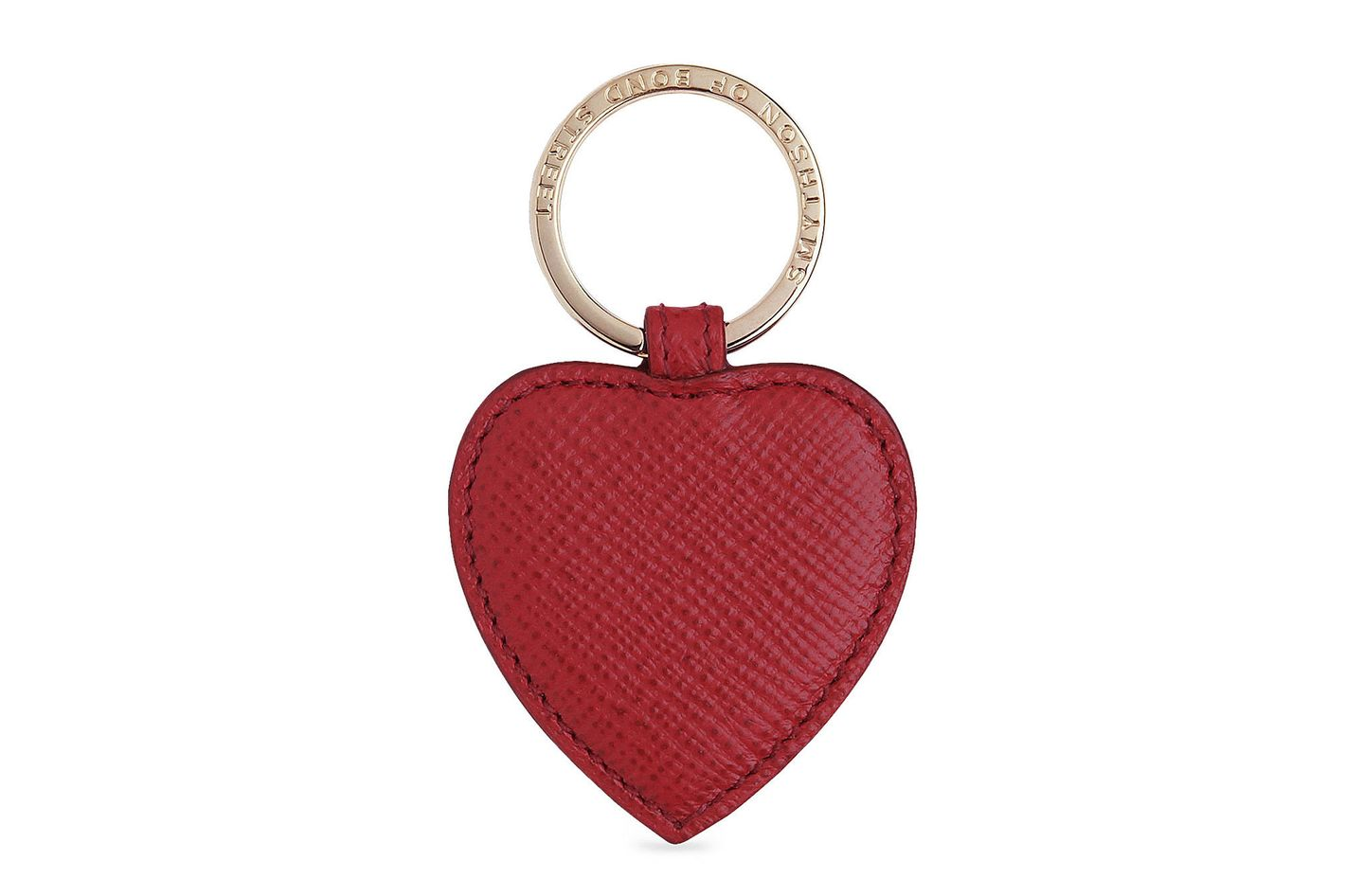 Smythson Heart Leather Keychain