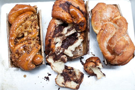 The guts of the chocolate doughka.