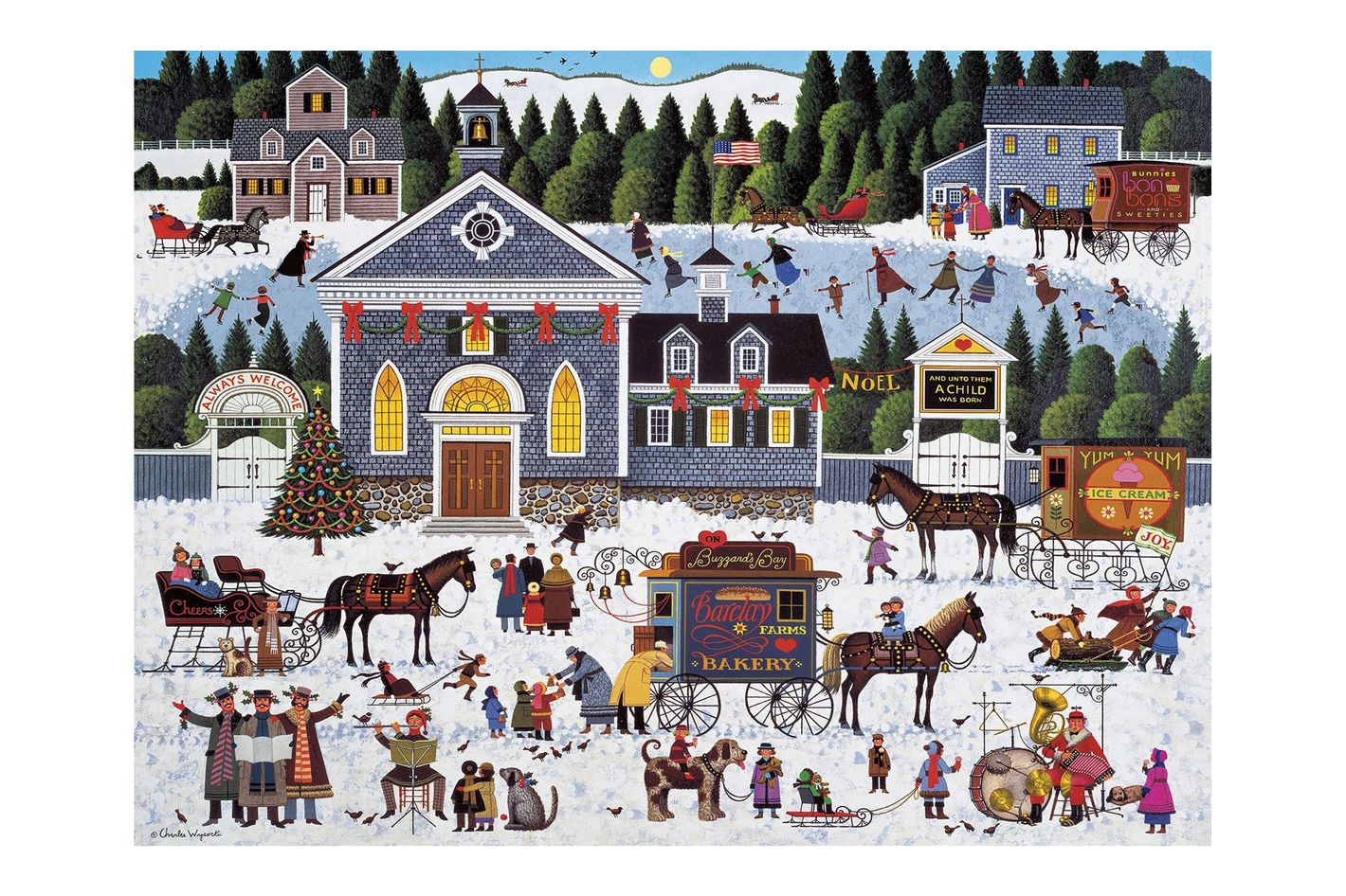 Buffalo Games Churchyard Christmas by Charles Wysocki