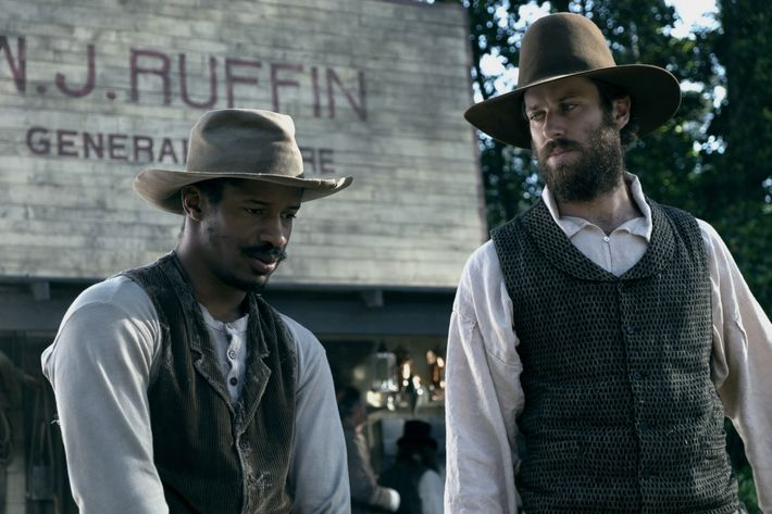 "Nate Parker as ""Nat Turner"" and Armie Hammer as ""Samuel Turner"" in THE BIRTH OF A NATION. Photo by Jahi Chikwendiu. © 2016 Twentieth Century Fox Film Corporation All Rights Reserved"