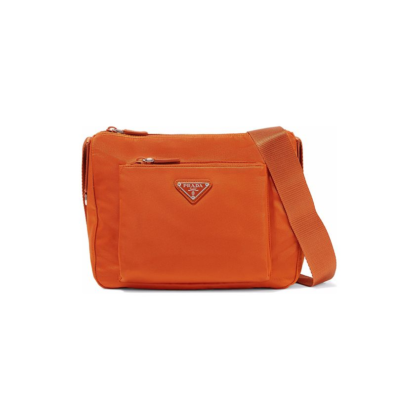 Prada Leather-trimmed shell shoulder bag