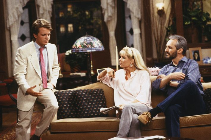 "FAMILY TIES -- ""The Last of the Red Hot Psychologists: Part 1 and 2"" Episode 1 and 2 -- Air Date 09/13/1987 -- Pictured: (l-r) Michael J. Fox as Alex P. Keaton, Meredith Baxter as Elyse Keaton, Michael Gross as Steven Keaton."