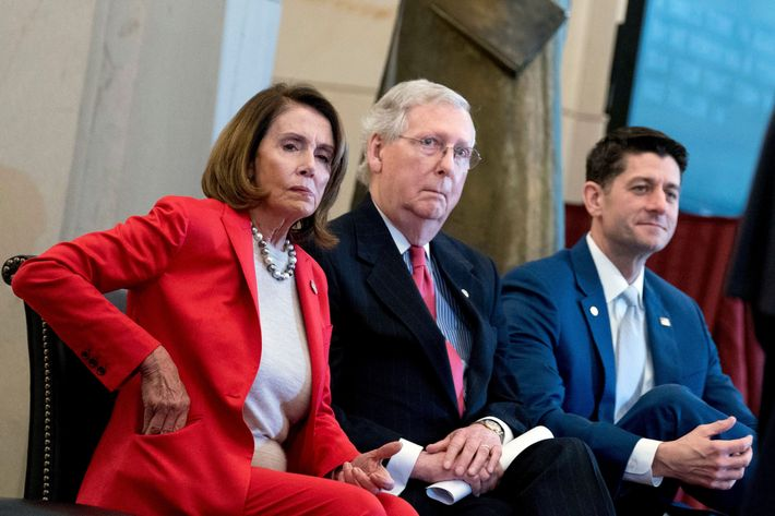 House Minority Leader Nancy Pelosi of Calif., Senate Majority Leader Mitch McConnell of Ky., and House Speaker Paul Ryan of Wis., appear for a Congressional Gold Medal Ceremony honoring the Office of Strategic Services in Emancipation Hall on Capitol Hill in Washington.